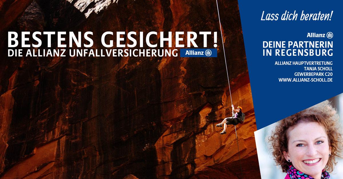 Kletterer - Versicherung, Kino-Dia anlässlich der AlpCon Regensburg von Allianz Scholl